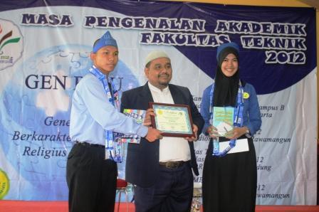 Piagam Penghargaan dari Panitia dan Peserta MPA FT-UNJ 2012