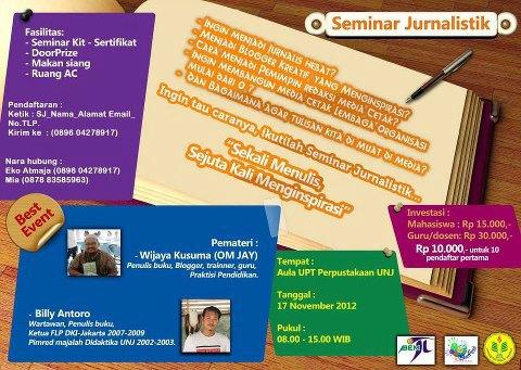 Yuk Ikutan Kegiatan Jurnalis di kampus UNJ, Sabtu 17 Nopember 2012
