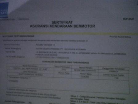 sertifikat asuransi